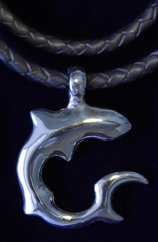 Tribal Shark Sterling Silver Pendant